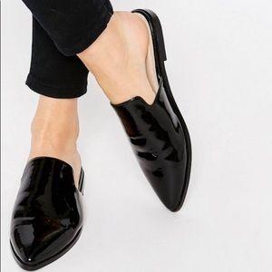 Asos patent black leather mule flats